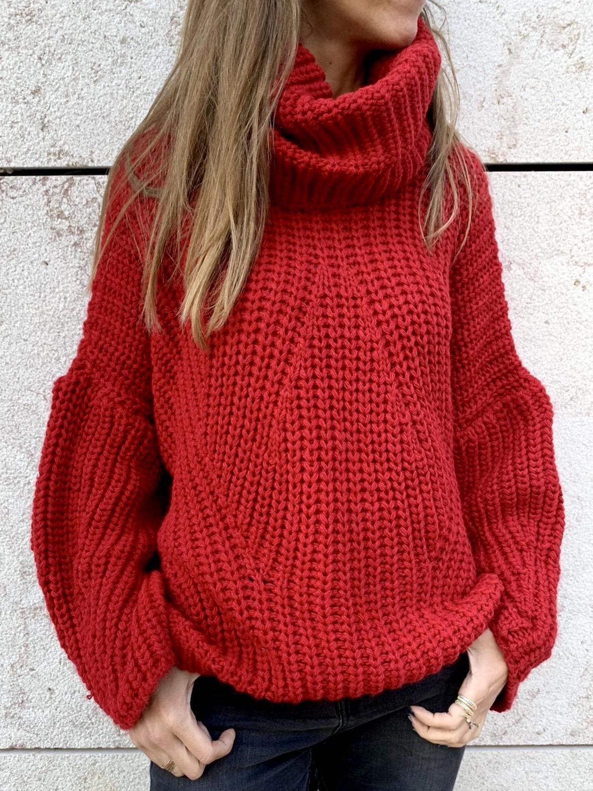 Camisolão de Gola Alta | Vermelho
