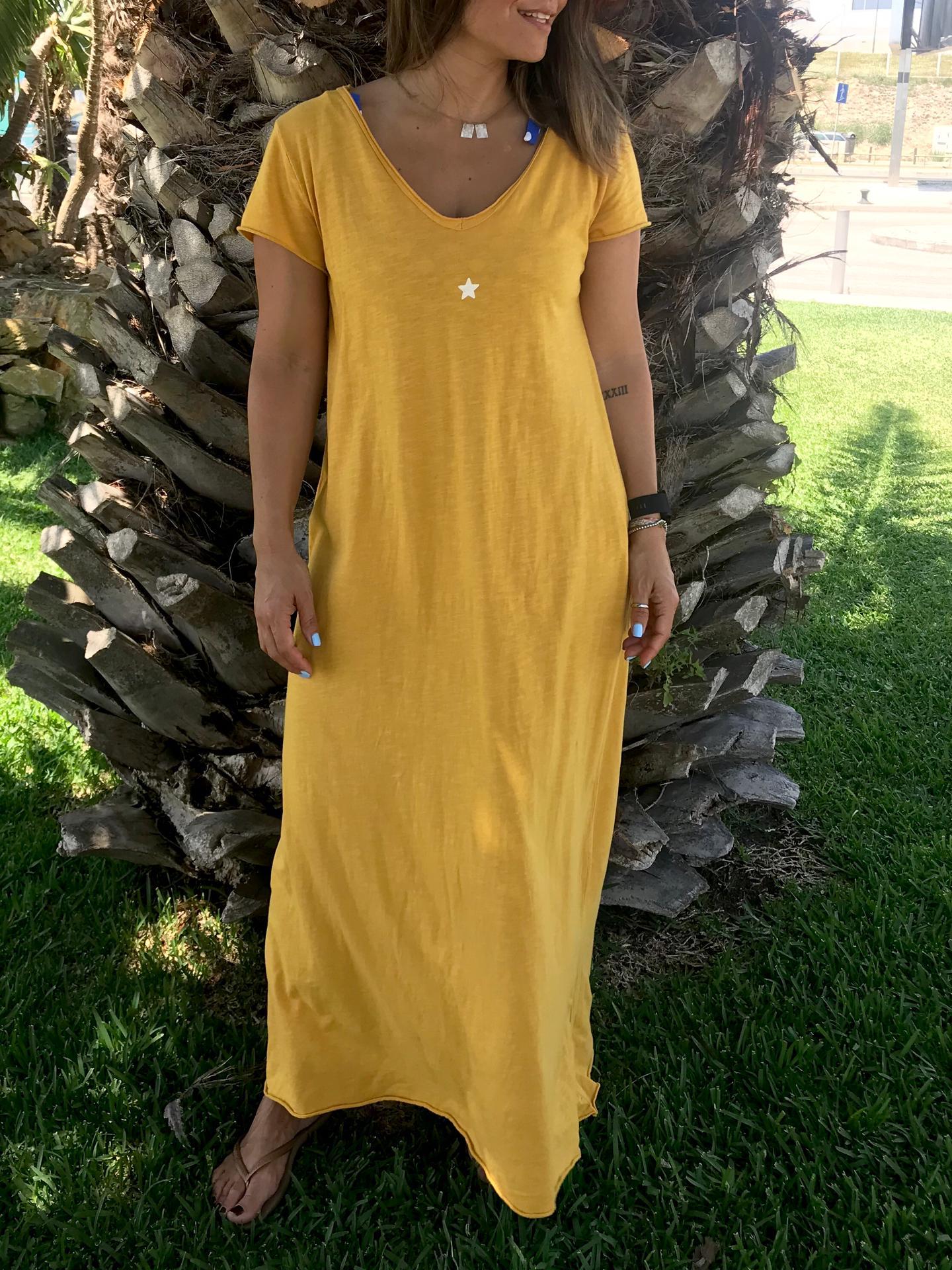 Vestido Comprido Mini Estrela   Mostarda