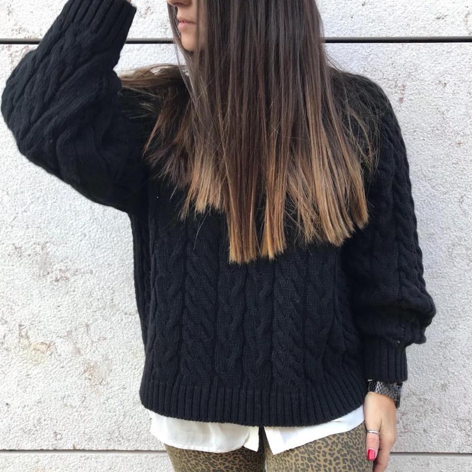Camisola tranças | Preta