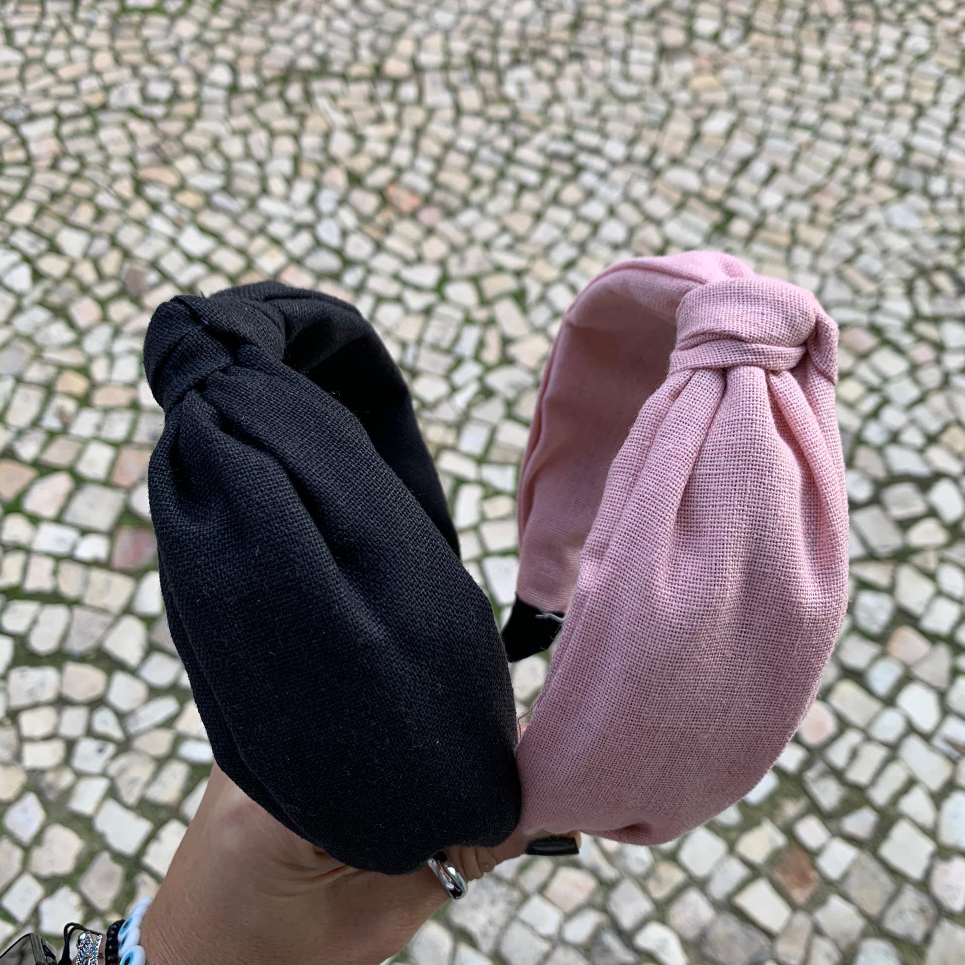 Bandolete Linho | Preto & Rosa