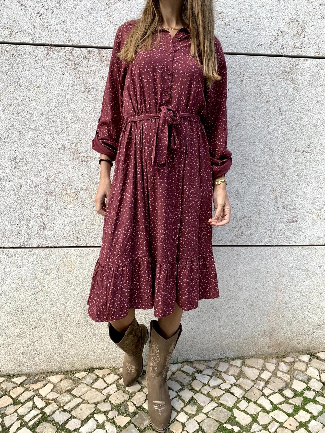 Vestido com Padrão de Flores | Bordeaux