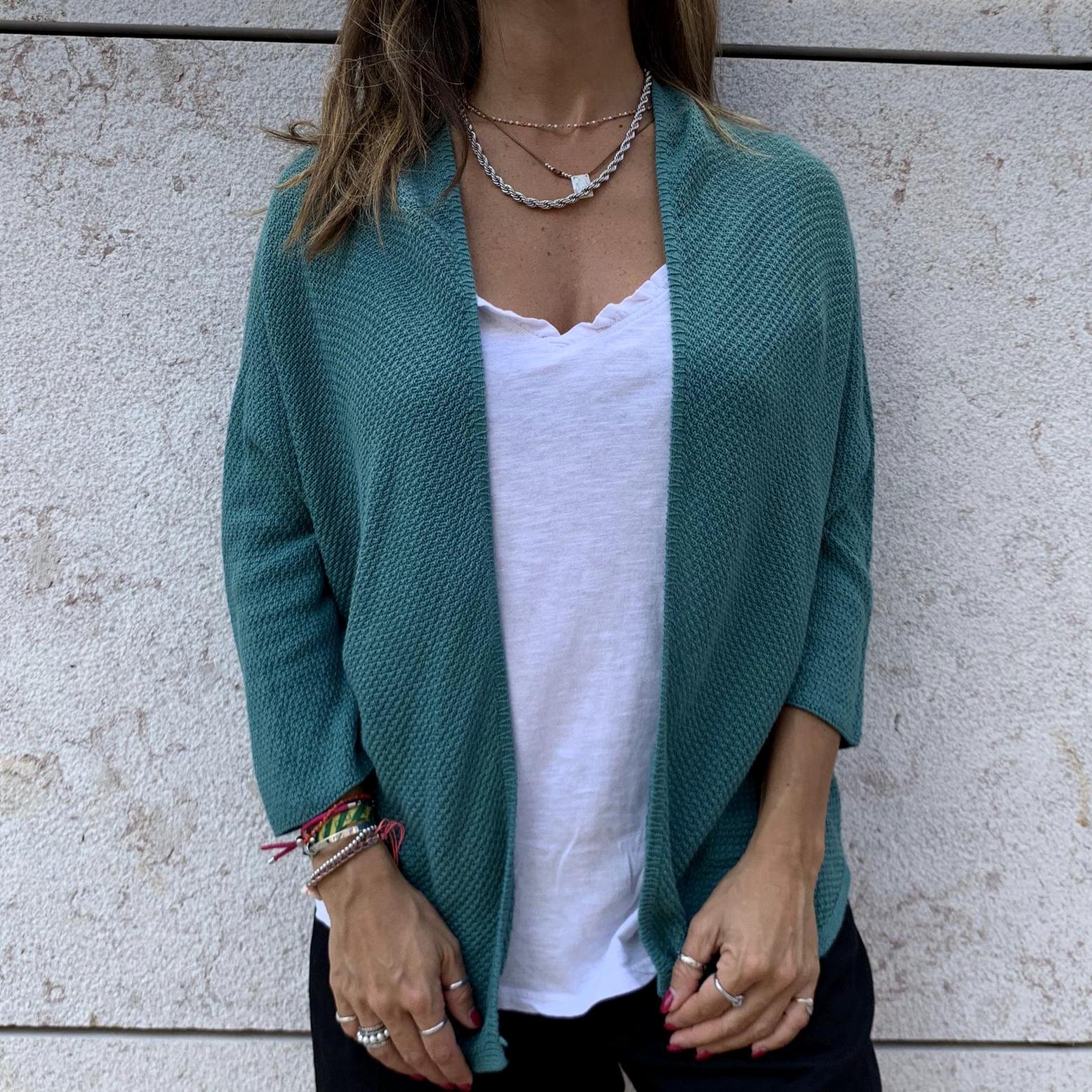 Casaco Malha | Azul Esverdeado