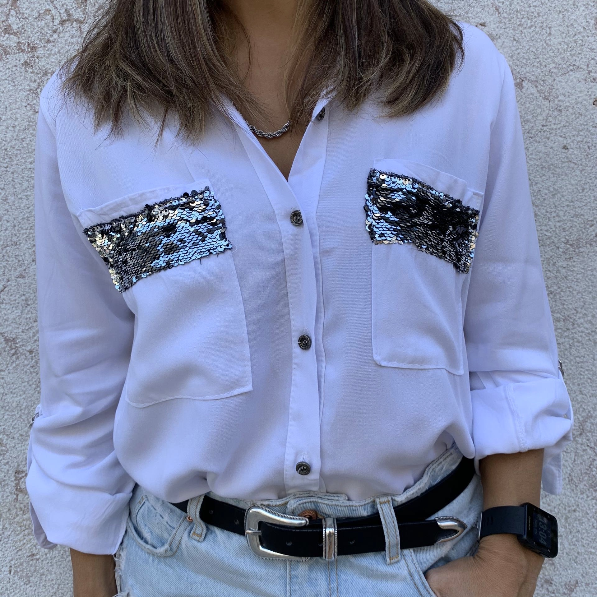 Camisa Bolsos Lantejoulas   Branco