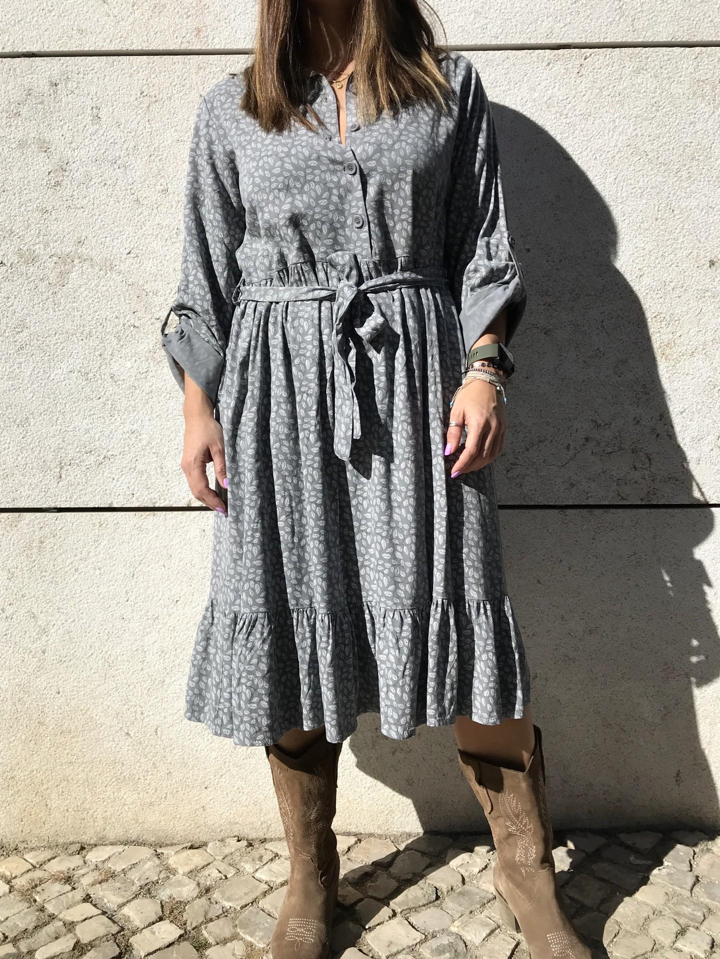 Vestido Padrão Folhas | Cinza