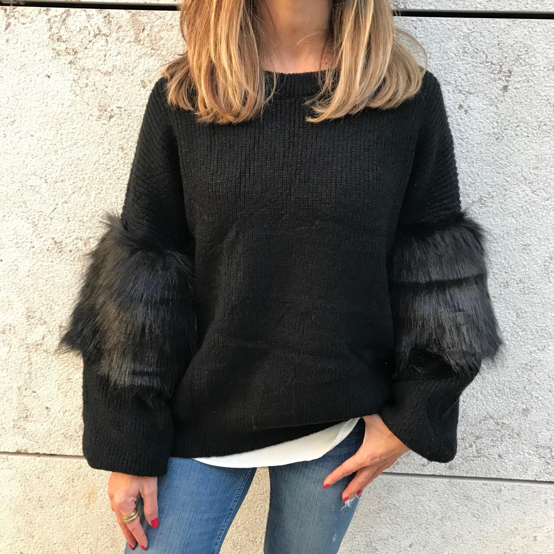 Camisola Manga com pêlo   Preto