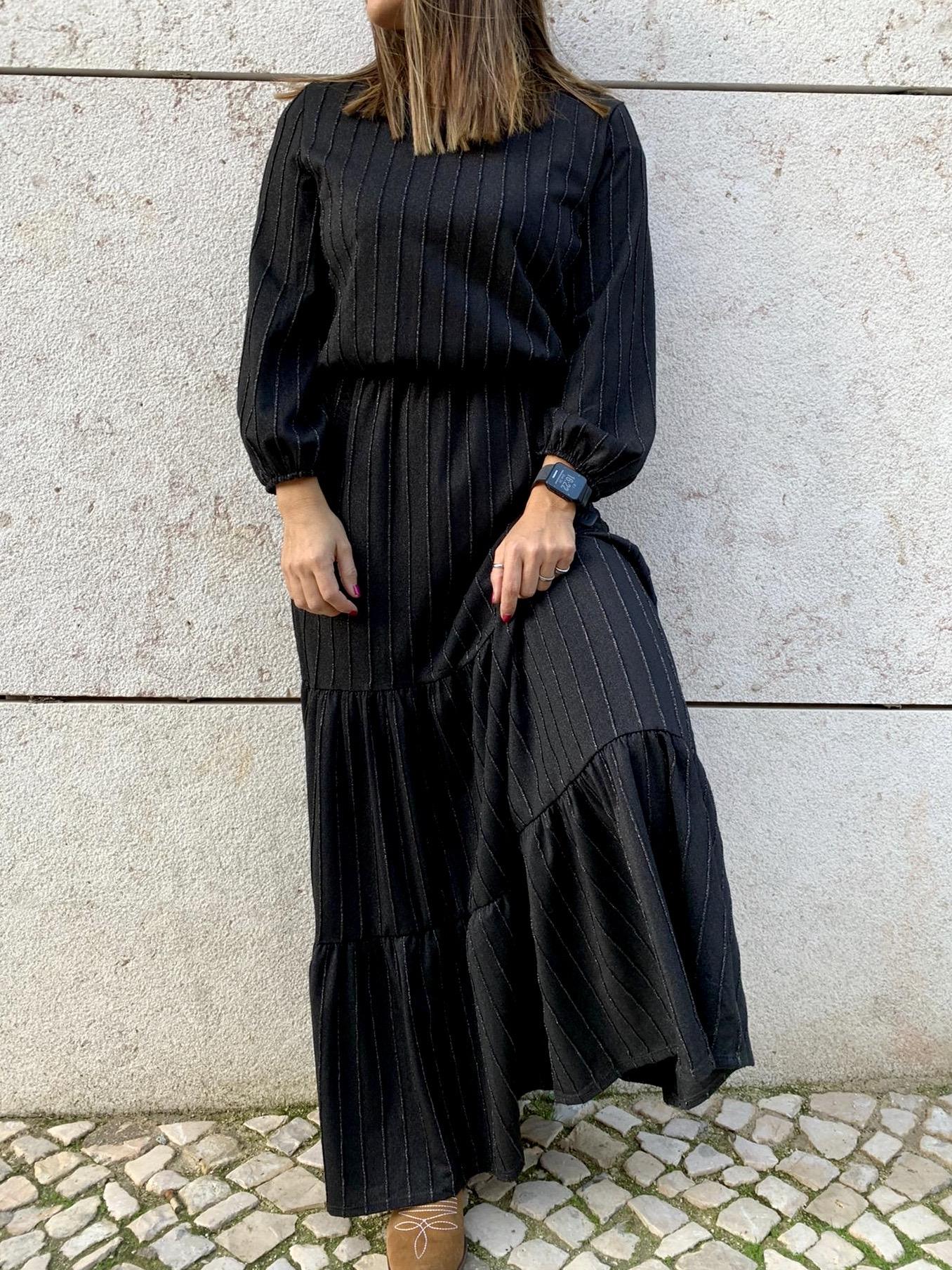 Vestido Comprido Preto Brilho