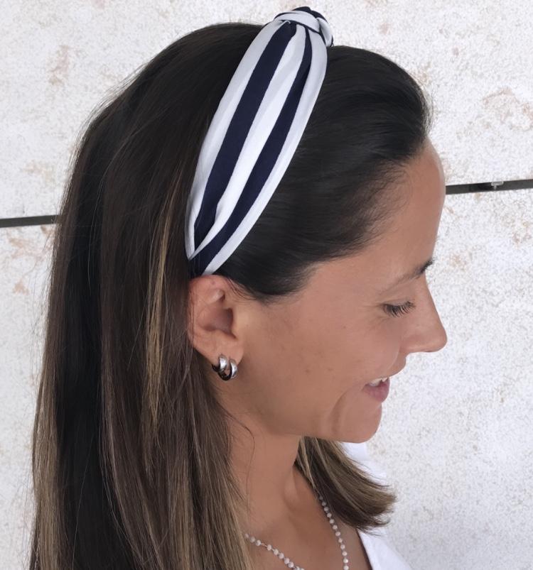 Bandolete Tecido Branco | Riscas Azuis