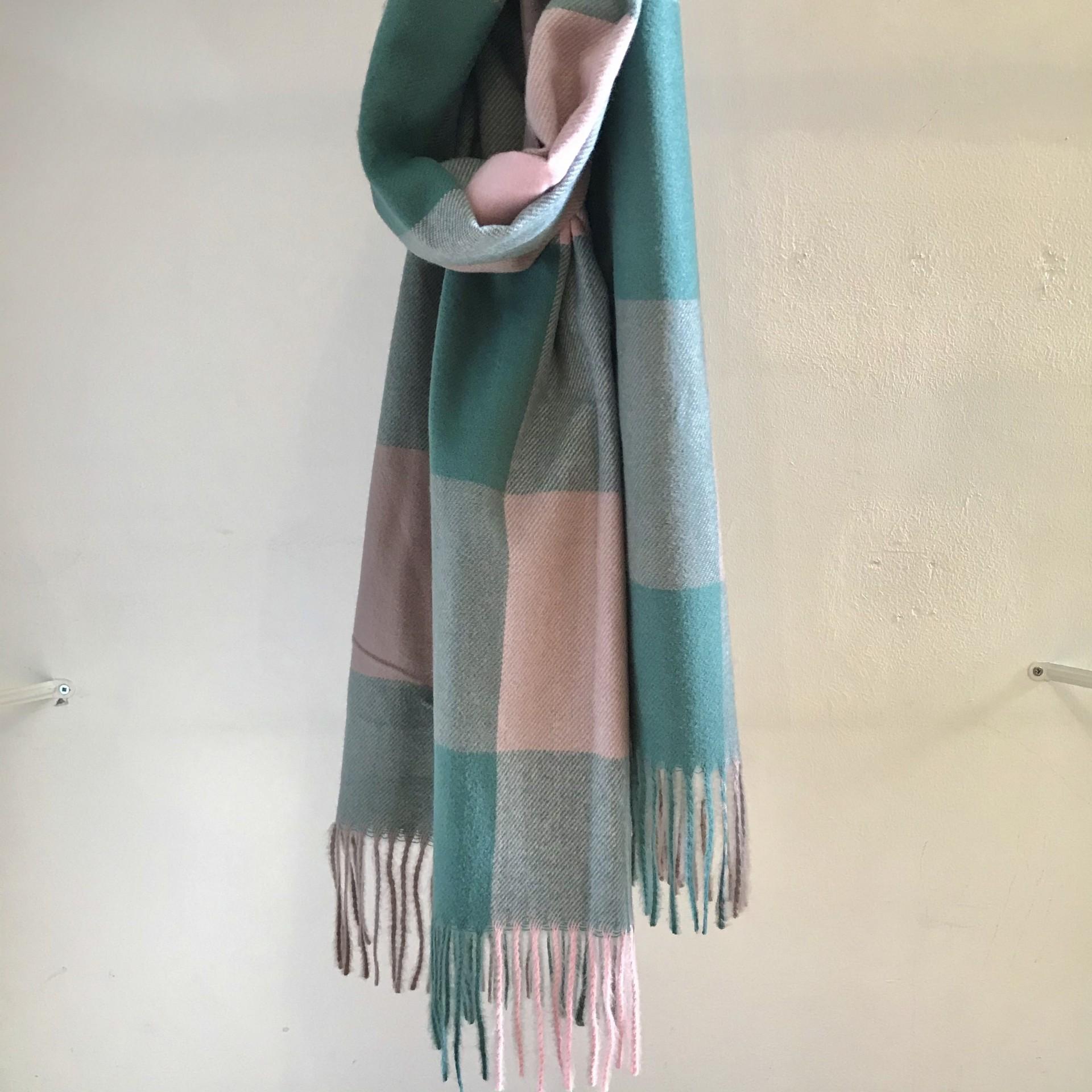 Echarpe Quadrados | Verde & Rosa