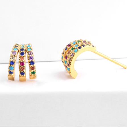 Brincos Triplos XS | Brilhantes Coloridos