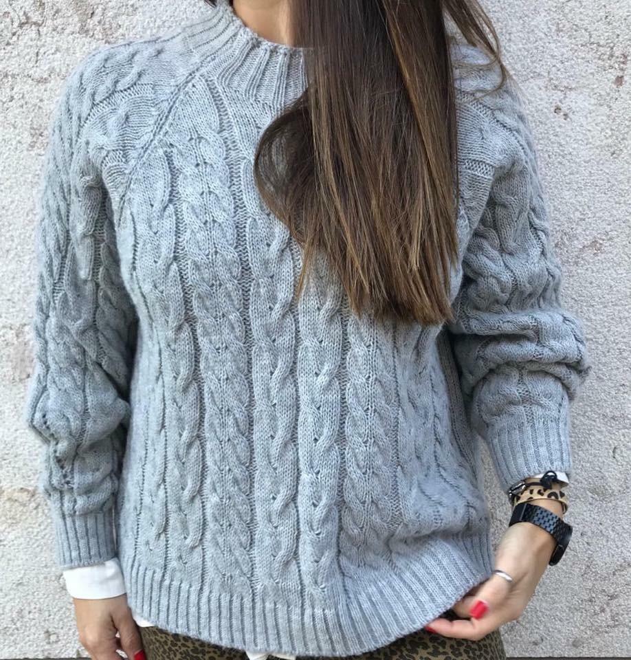Camisola tranças | Cinza Claro