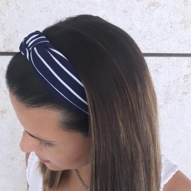 Bandolete Tecido Azul | Riscas Brancas