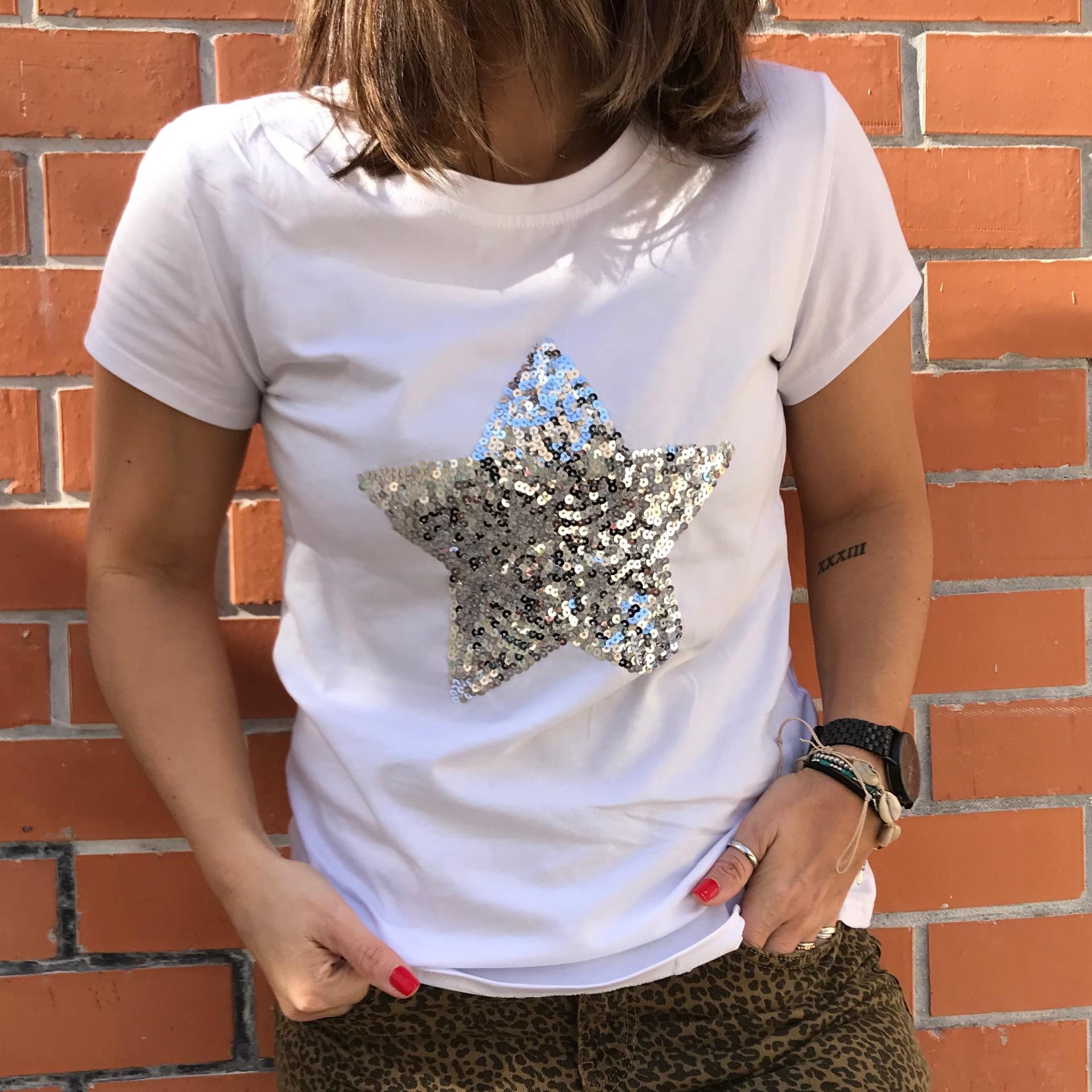 T-Shirt Estrela Lantejoulas   Prateada