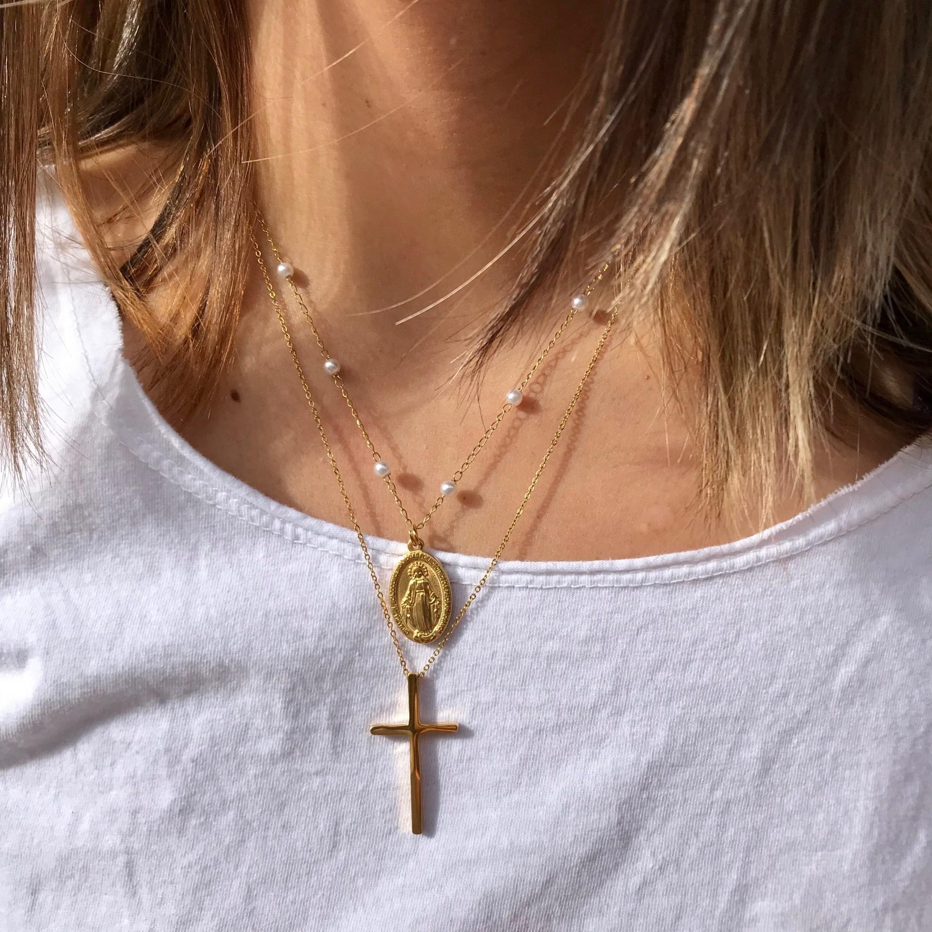 Fio Malha pérolas com virgem & Fio Cruz | Dourado