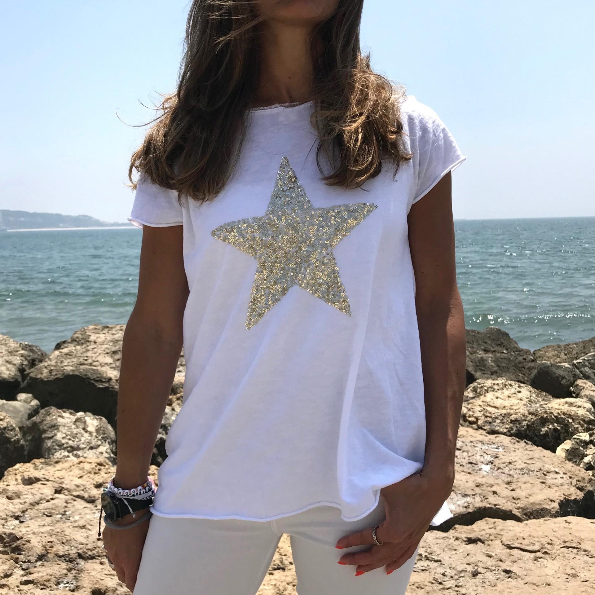 T-shirt Estrela Lantejoulas Dourada