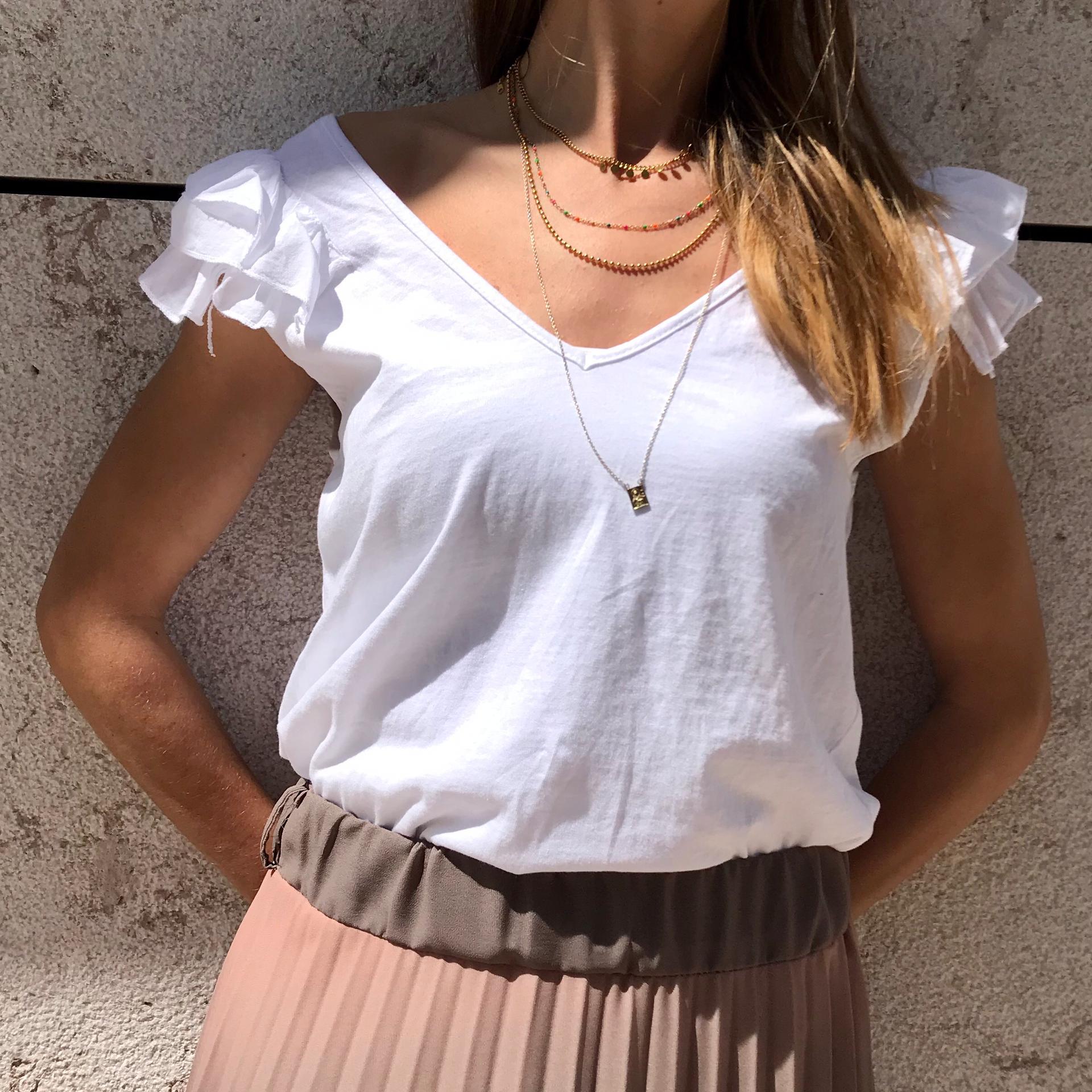 Top Liso Folho | Branco