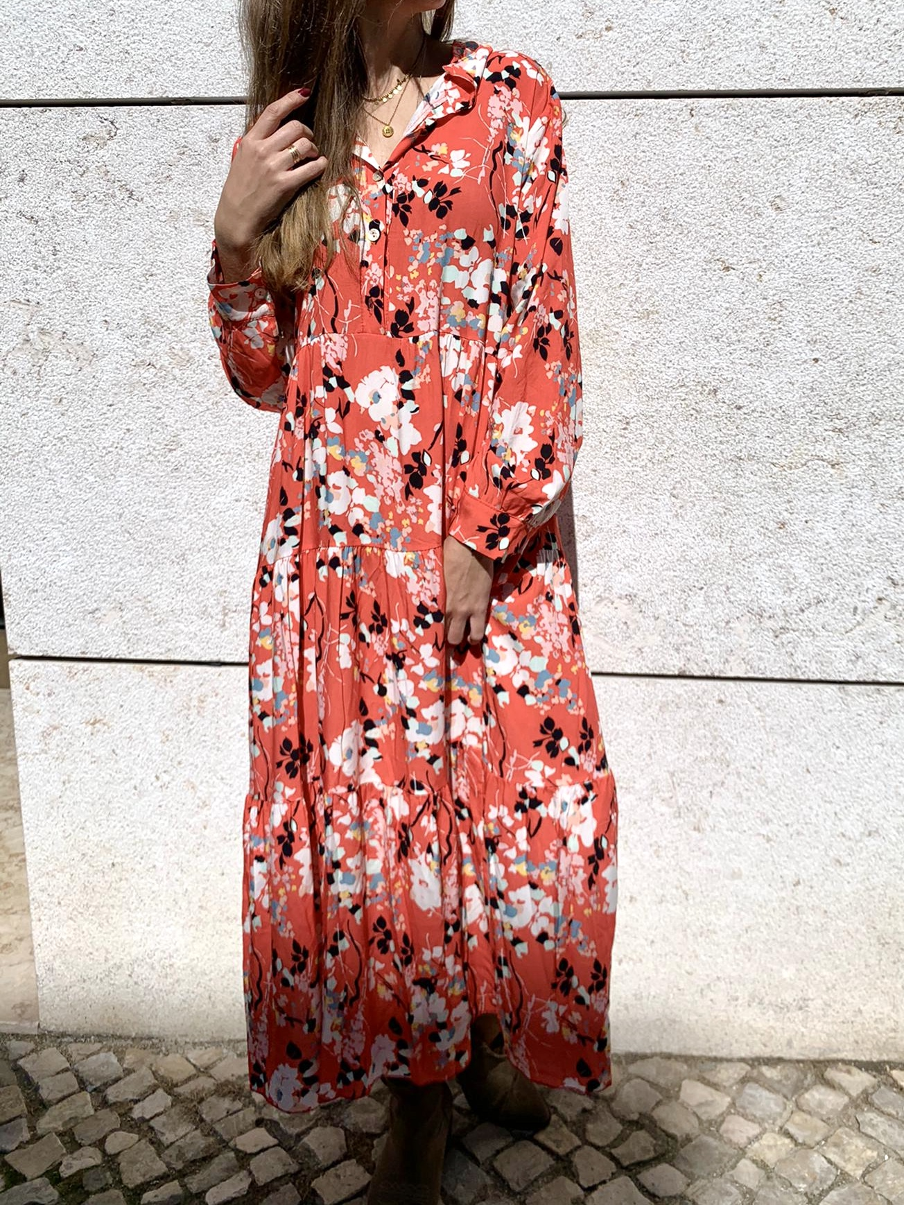 Vestido Floral | Salmão