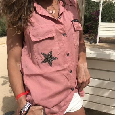 Camisa Manga Cava | Rosa