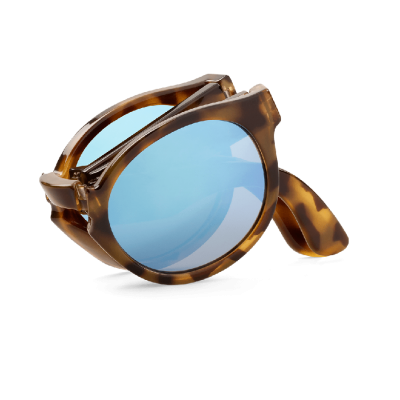 HIGH CONTRAST TORTOISE FOLDABLE JORDAAN W/ SKY BLUE LENSES