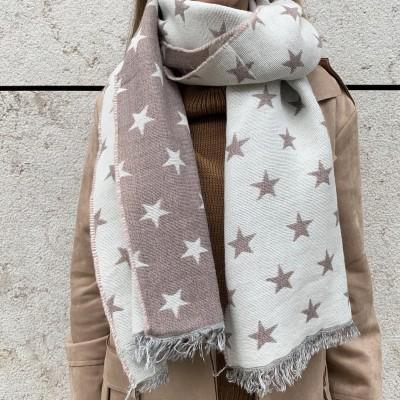 Echarpe Estrelas | Fundo Taupe