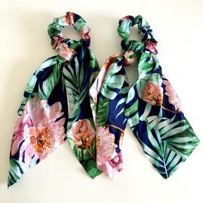 Elástico Cabelo | Padrão Tropical Florido Azulão