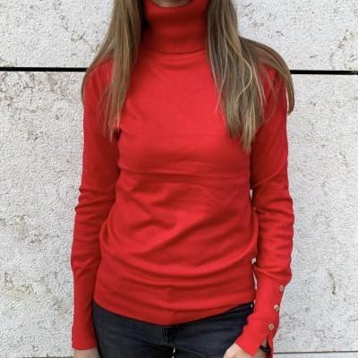 Camisola de Gola Alta Botões nos Punhos   Vermelho