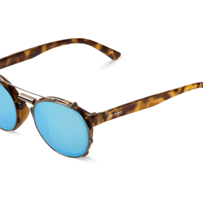 HIGH CONTRAST TORTOISE NEWTOWN WITH SKY BLUE LENSES
