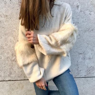 Camisola Manga com pêlo | Creme