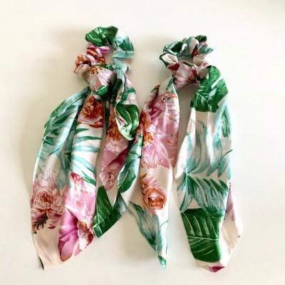Elástico Cabelo   Padrão Florido Rosa