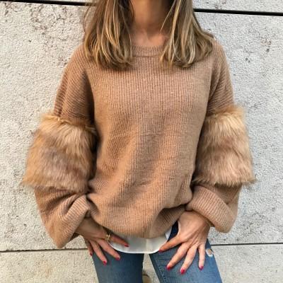 Camisola Manga com pêlo | Camel