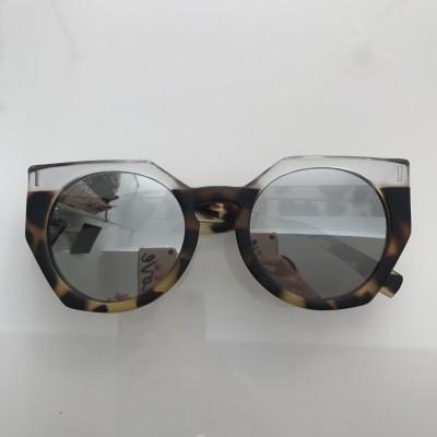 Green Tortoise (rubber effect) Silver Lenses