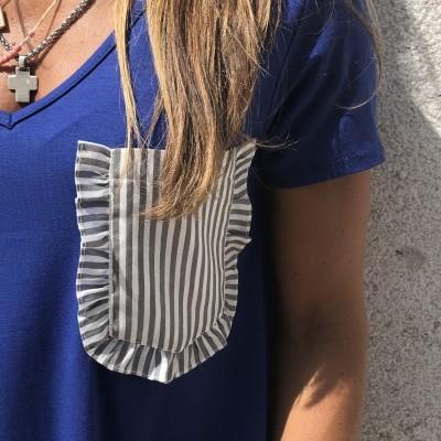 T-Shirt Azulão Bolso Cinza Riscas