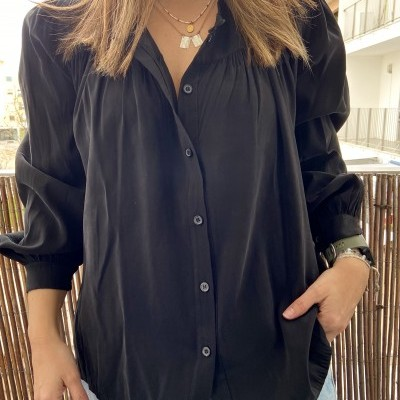 Camisa Manga de Balão   Preto