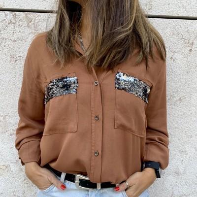 Camisa Bolsos Lantejoulas | Preto
