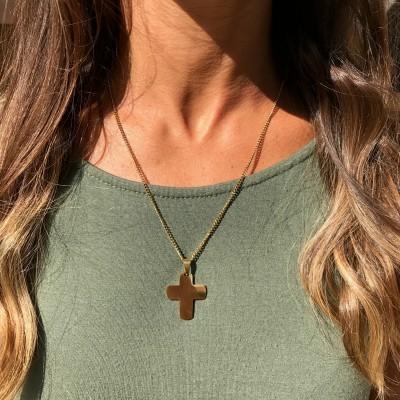 Fio Aço   Cruz Arredondada Dourada