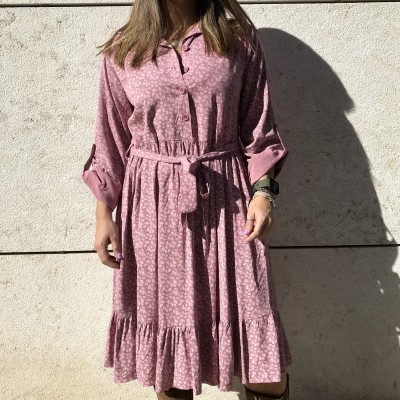 Vestido Padrão Folhas | Rosa