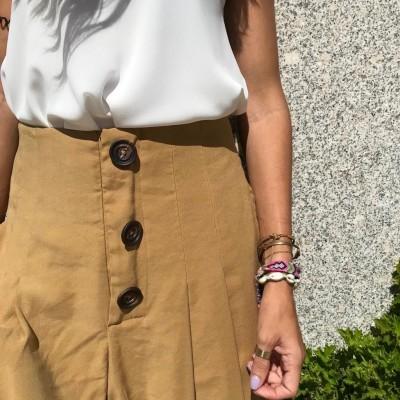 Calças cintura subida   Mostarda