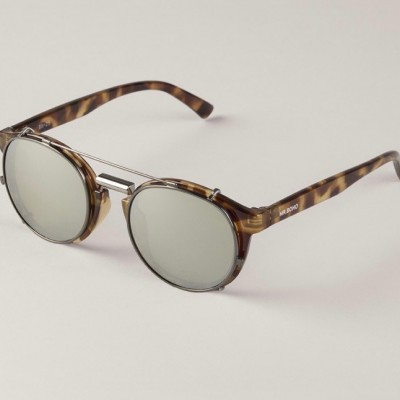 HIGH CONTRAST TORTOISE NEWTOWN WITH SILVER LENSES