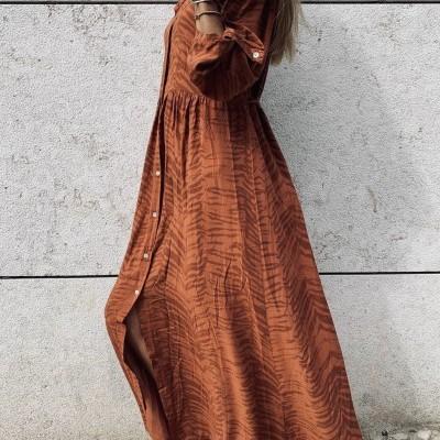 Vestido Comprido com Padrão Kaki