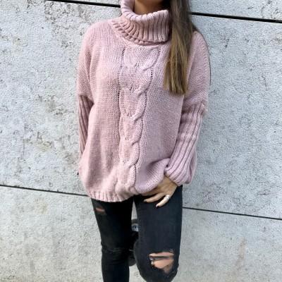 Camisola Trança larga | Rosa