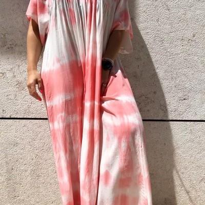Vestido Comprido Tie Dye   Kaki