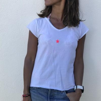 T-Shirt Estrelinha | Rosa Neon