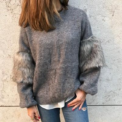 Camisola Manga com pêlo | Cinza