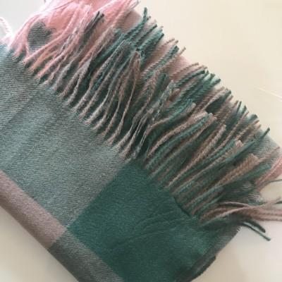 Echarpe Quadrados   Verde & Rosa