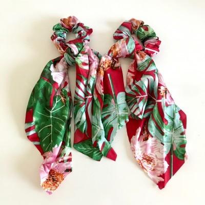 Elástico Cabelo | Padrão Florido Vermelho
