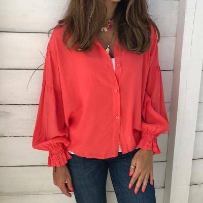 Camisa com punhos elásticos | Rosa Coral