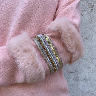 Camisola Manga com Brilho e Pêlo | Rosa