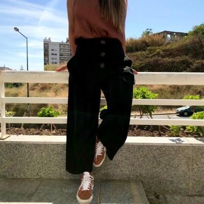 Calças cintura subida | Preto