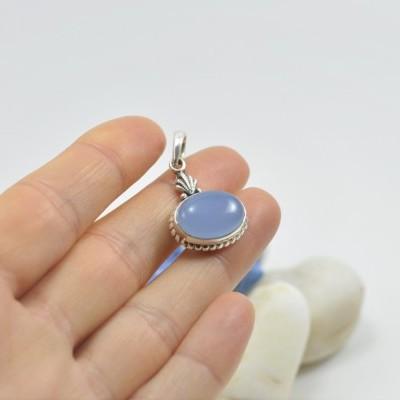 Pendente em prata com Calcedonia Azul