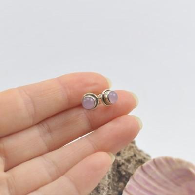 Brincos em Prata com pedra Quartzo Rosa