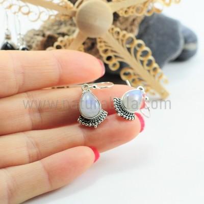 Brincos em prata com Pedra da Lua